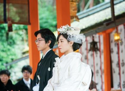 京都 神社式 婚礼 白無垢着付け