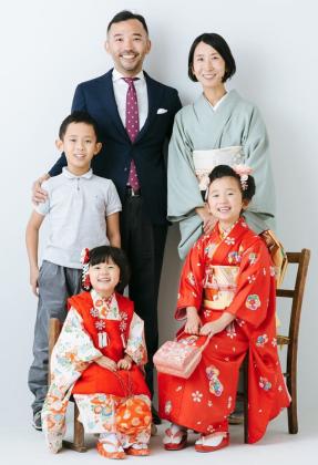 七五三 子供 着付け 日本髪 京都 家族写真