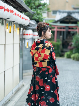 帯結びアレンジ 振袖着付け 成人式前撮り 京都市内ロケ