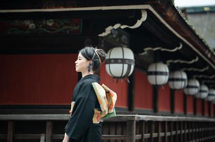 京都市内ロケ 振袖着付け 和装ヘアセット 成人式前撮り
